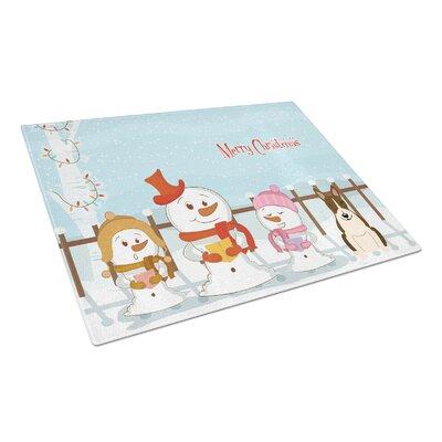 Merry Christmas Carolers Glass Bull TerrierCutting Board Color: Dark Brindle