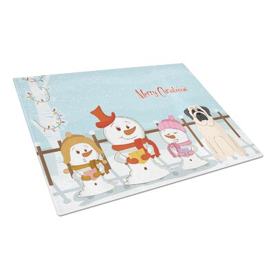 Merry Christmas Carolers Glass Mastiff Cutting Board Color: White