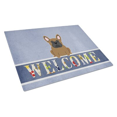 Welcome Dog Glass French Bulldog Cutting Board Color: Brown
