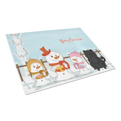 Merry Christmas Carolers Glass Chow Chow Cutting Board Color: Black