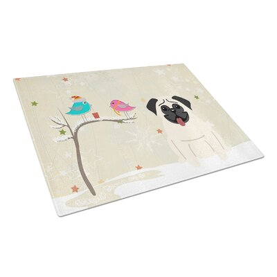 Christmas Presents Glass Pug Cutting Board Color: Cream