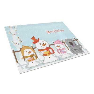 Merry Christmas Carolers Glass Chow Chow Cutting Board Color: Blue