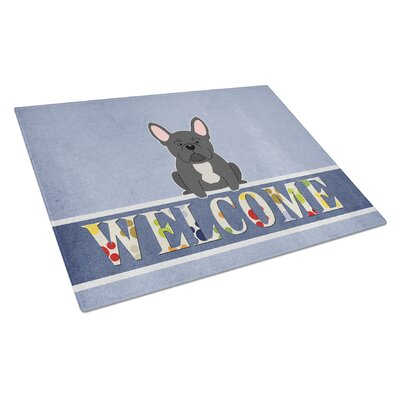 Welcome Dog Glass French Bulldog Cutting Board Color: Black