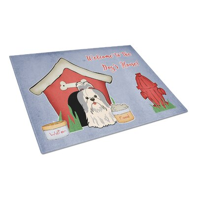 Dog House Glass Shih Tzu Cutting Board Color: Silver/White