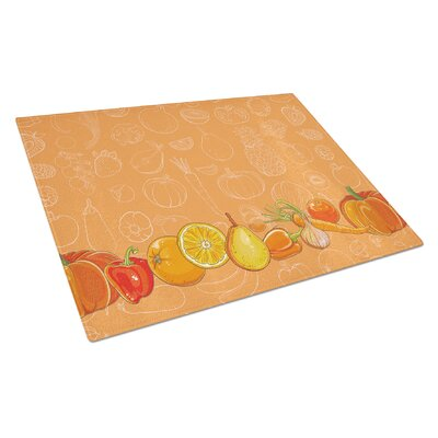 Fruits and Vegetables Rectangle Glass Cutting Board