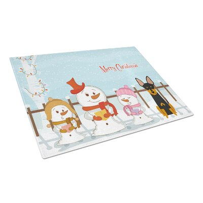 Merry Christmas Carolers Glass English Toy Terrier Cutting Board