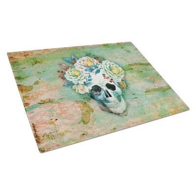 Glass Skull with Flowers Cutting Board