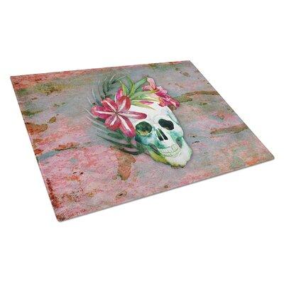Glass Skull Flowers Cutting Board