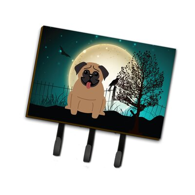 Contemporary Halloween Scary Pug Leash or Key Holder Finish: Brown