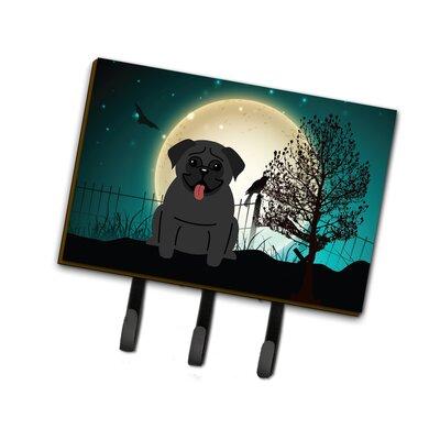 Contemporary Halloween Scary Pug Leash or Key Holder Finish: Black