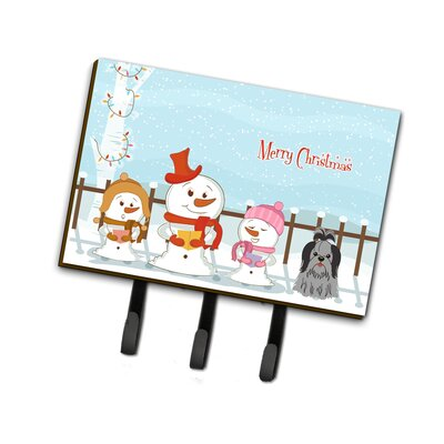 Merry Christmas Carolers Shih Tzu Leash or Key Holder Finish: Black / Silver