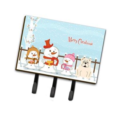 Merry Christmas Carolers English Bulldog Leash or Key Holder Finish: Gloss