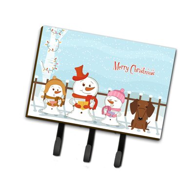 Merry Christmas Carolers Dachshund Leash or Key Holder Finish: Brown/Orange