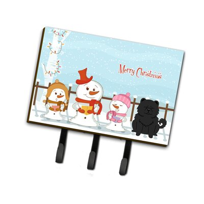 Merry Christmas Carolers Chow Chow Leash or Key Holder Finish: Black