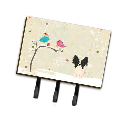 Christmas Papillon Leash or Key Holder Finish: Black/Beige