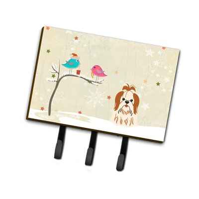 Christmas Shih Tzu Leash or Key Holder Finish: Brown/Beige
