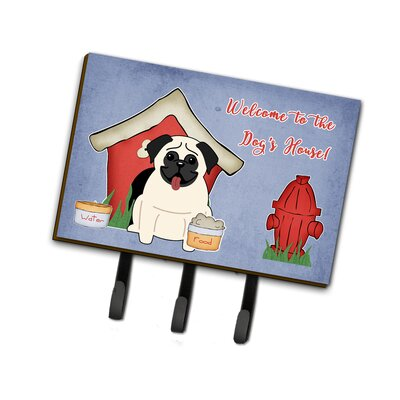 Dog House Pug Leash or Key Holder Finish: Cream