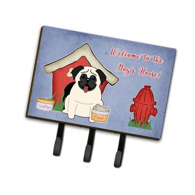Dog House Pug Leash or Key Holder Finish: Cream
