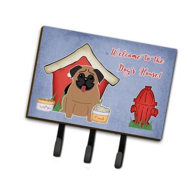 Dog House Pug Leash or Key Holder Finish: Brown