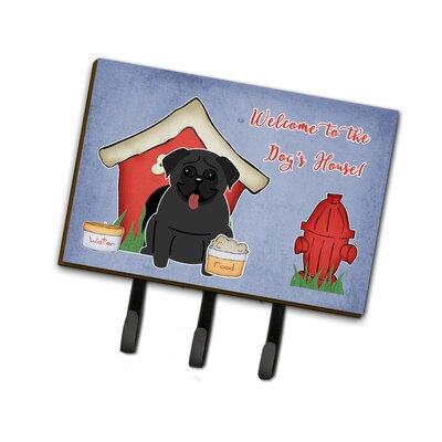 Dog House Pug Leash or Key Holder Finish: Black