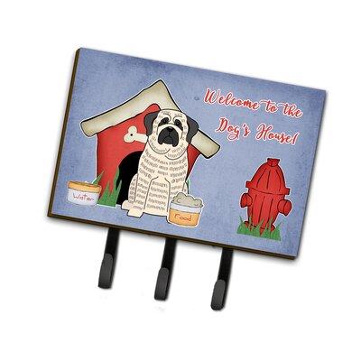 Dog House Mastiff Brindle Leash or Key Holder Finish: White