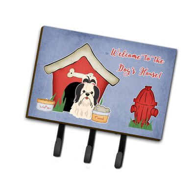 Dog House Shih Tzu Leash or Key Holder Finish: Black/White
