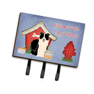Dog House Border Collie Leash or Key Holder Finish: Black/White