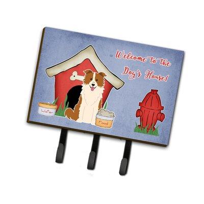Dog House Border Collie Leash or Key Holder Finish: Red/White