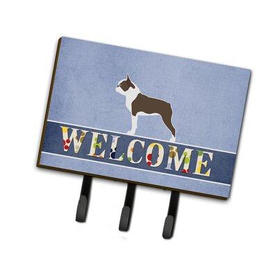 Boston Terrier Welcome Leash or Key Holder