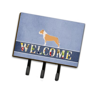 Staffordshire Bull Terrier Welcome Leash or Key Holder