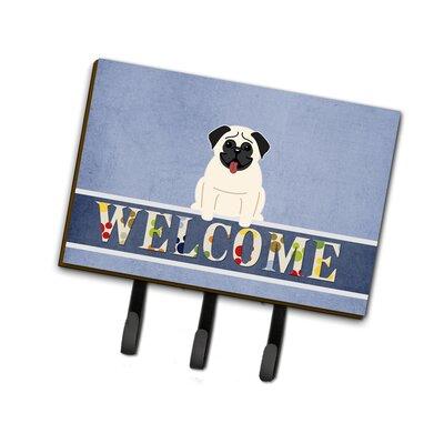 Pug Welcome Leash or Key Holder Finish: Cream