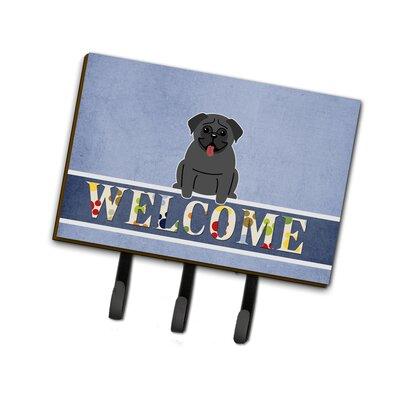 Pug Welcome Leash or Key Holder Finish: Black