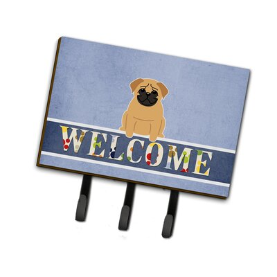 Pug Welcome Leash or Key Holder Finish: Brown