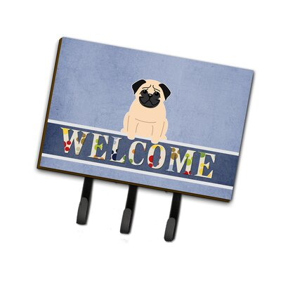 Pug Welcome Leash or Key Holder Finish: Fawn
