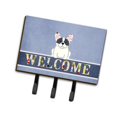French Bulldog Piebald Welcome Leash or Key Holder