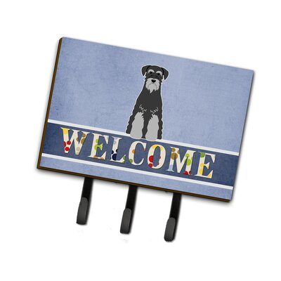 Standard Schnauzer Welcome Leash or Key Holder Finish: Black/Gray