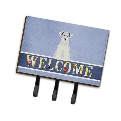 Miniature Schanuzer Welcome Leash or Key Holder Finish: White