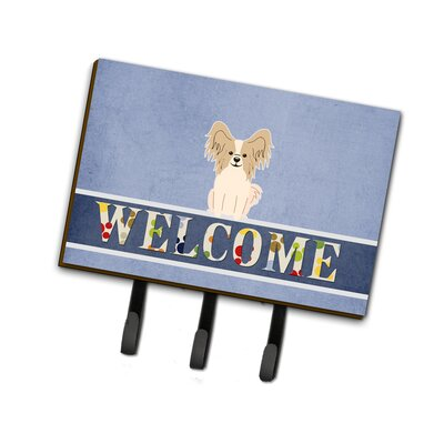 Papillon Welcome Leash or Key Holder Finish: Red