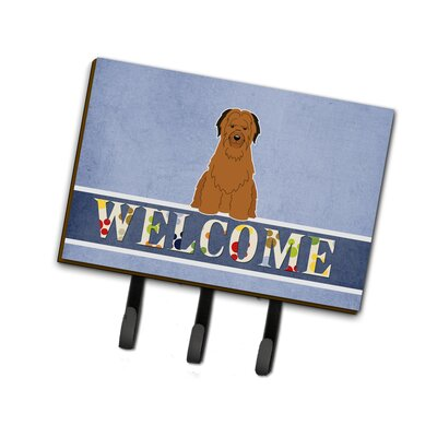 Briard Welcome Leash or Key Holder Finish: Brown