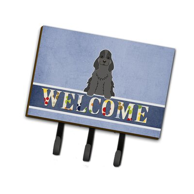 Cocker Spaniel Welcome Leash or Key Holder Finish: Black
