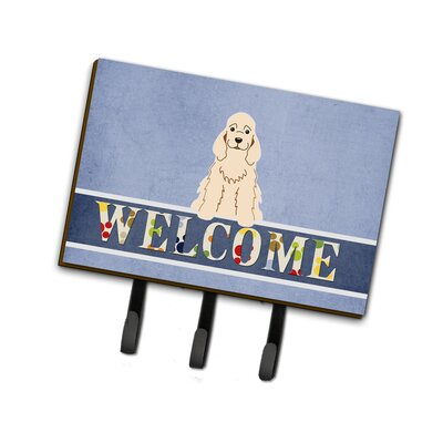 Cocker Spaniel Welcome Leash or Key Holder Finish: White
