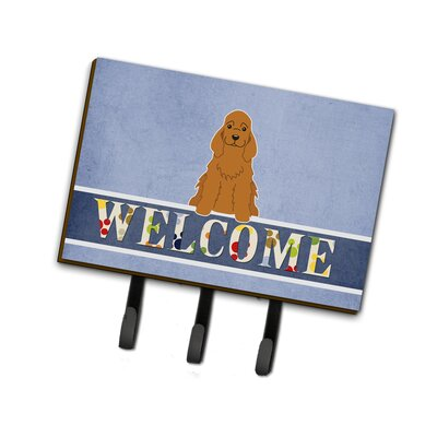 Cocker Spaniel Welcome Leash or Key Holder Finish: Brown