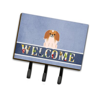 Pekingnese Welcome Leash or Key Holder Finish: Red