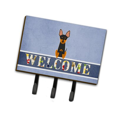 English Toy Terrier Welcome Leash or Key Holder