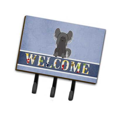 Chinese Crested Welcome Leash or Key Holder Finish: Gray