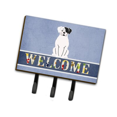 White Boxer Cooper Welcome Leash or Key Holder