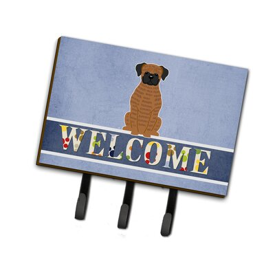 Brindle Boxer Welcome Leash or Key Holder