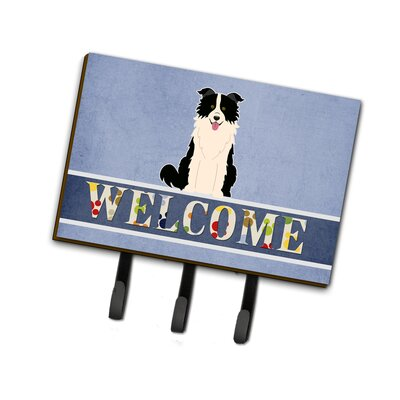 Border Collie Welcome Leash or Key Holder Finish: Black