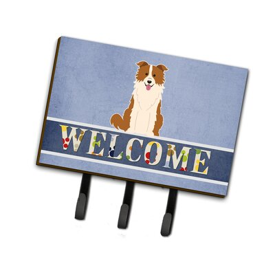 Border Collie Welcome Leash or Key Holder Finish: Red