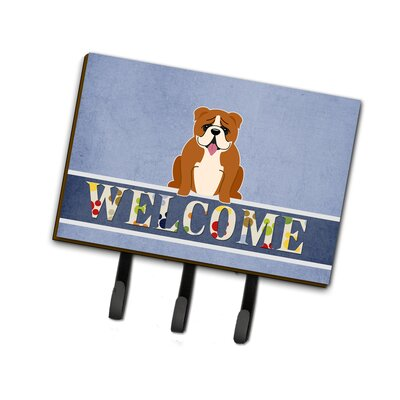 English Bulldog Welcome Leash or Key Holder